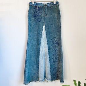 Free People Denim Long Skirt